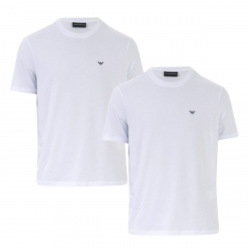 EMPORIO ARMANI DOUBLE PACK T-SHIRTS IN WHITE