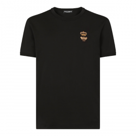 DOLCE & GABBANA EMBROIDERED BEE AND CROWN LOGO T-SHIRT IN BLACK
