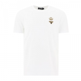 DOLCE & GABBANA BEE EMBROIDERY COTTON T-SHIRT IN WHITE