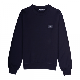 DOLCE&GABBANA COTTON SWEATER WITH BRANDED PLATE IN NAVY BLUE