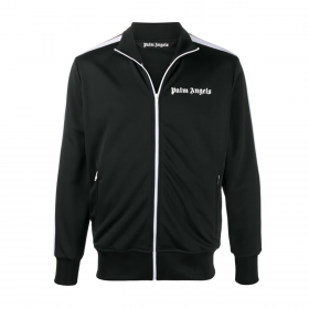PALM ANGELS CHEST LOGO-PRINT TRACK JACKET IN BLACK