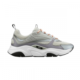 DIOR B22 TECHNICAL MESH AND CALF SKIN TRAINER IN GREY