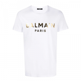 BALMAIN GOLD FOIL T-SHIRT IN WHITE