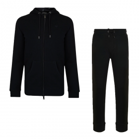 EMPORIO ARMANI ZIPPED HOODED TRACKSUIT IN BLACK