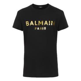 BALMAIN GOLD FOIL T-SHIRT IN BLACK