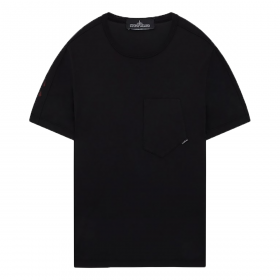 STONE ISLAND PRINTED SS CATCH POCKET-T IN BLACK