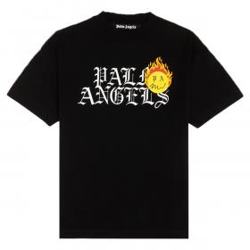 PALM ANGELS BURNING HEAD PRINT T-SHIRT IN BLACK