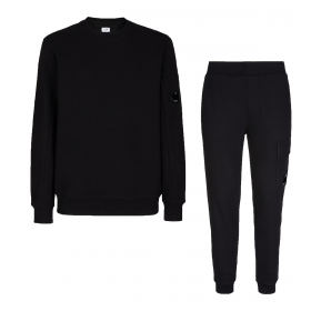CP COMPANY CREW NECK TRACKSUIT IN BLACK