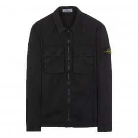 STONE ISLAND BRUSHED COTTON 'OLD' EFFECT OVERSHIRT IN BLACK