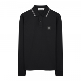 STONE ISLAND STRETCH COTTON LONG SLEEVE POLO IN BLACK