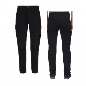 CP COMPANY STRETCH SATIN CARG0 PANT IN BLACK