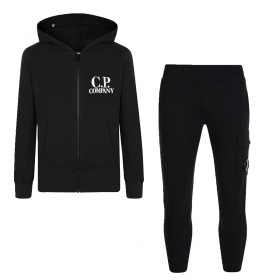 CP COMPANY JUNIOR ZIP HOODED TRACKSUIT IN BLACK
