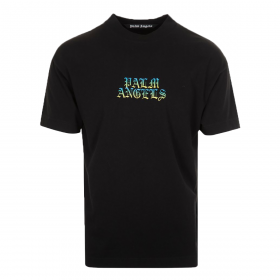 PALM ANGELS HUE GOTHIC LOGO TEE IN BLACK