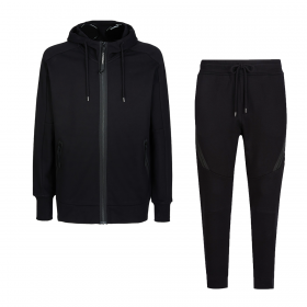 CP COMPANY DIAGONAL RAISED FLEECE HOODED TRACKSUIT IN BLACK