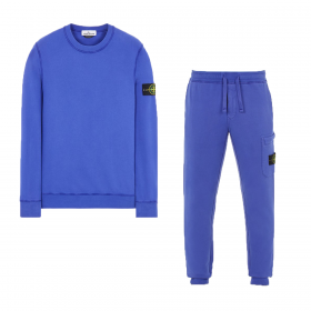 STONE ISLAND BRUSHED COTTON CREW NECK TRACKSUIT IN PERIWINKLE