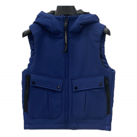 CP COMPANY JUNIOR GOGGLE HOOD GILLET IN BLUEPRINT