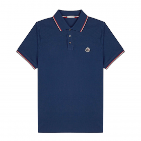 MONCLER SHORT SLEEVE POLO IN BLUE