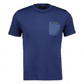 PRADA NYLON POCKET T-SHIRT IN BLUE