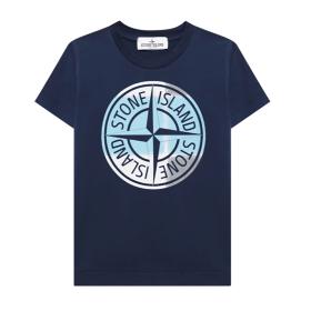STONE ISLAND JUNIOR 'PIN CAMO' PRINT T-SHIRT IN BLUE