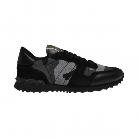 VALENTINO MESH CAMOUFLAGE ROCKRUNNER TRAINERS IN GREY/BLACK