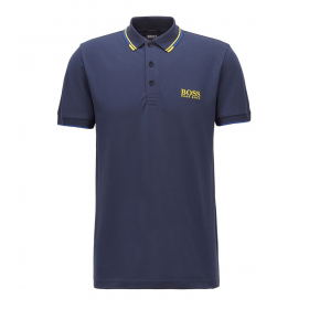 BOSS PADDY PRO POLO IN NAVY WITH YELLOW TRIM