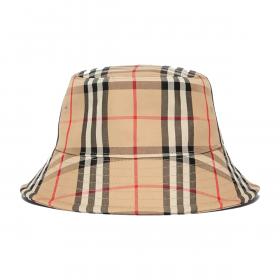 BURBERRY VINTAGE CHECK COTTON BUCKET HAT IN BEIGE