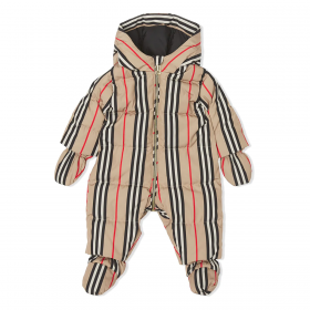 BURBERRY BABY ICON STRIPE PUFFER SUIT IN BEIGE
