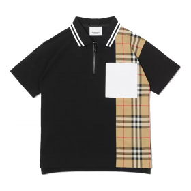 BURBERRY JUNIOR VINTAGE CHECK PANEL ZIP FRONT POLO IN BLACK