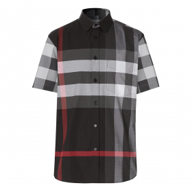 BURBERRY OVER SIZE CHECK SLIM FIT SHIRT IN BLACK