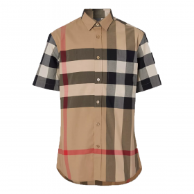 BURBERRY CHECK STRETCH COTTON SHIRT IN BEIGE
