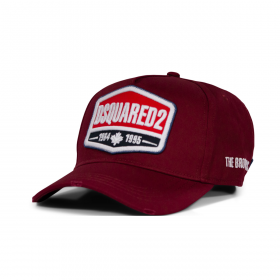 DSQUARED2 THE BROTHERS UNION CAP IN BURGUNDY