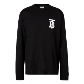 BURBERRY LONG SLEEVE MONOGRAM T-SHIRT IN BLACK (COMES AS AN OVERSIZED FIT)