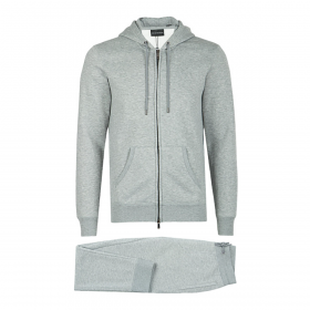 EMPORIO ARMANI ZIPPED HOODED TRACKSUIT IN GREY