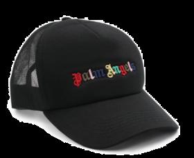 PALM ANGELS RAINBOW LOGO CAP IN BLACK