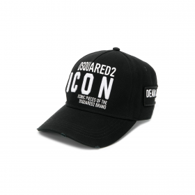 DSQUARED2 EMBROIDERED CAP IN BLACK/WHITE