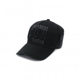 DSQUARED2 EMBROIDERED CAP IN BLACK/BLACK