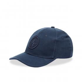 STONE ISLAND JUNIOR COTTON CAP IN NAVY BLUE
