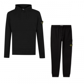 STONE ISLAND SIMPLE HOODED TRACKSUIT IN BLACK
