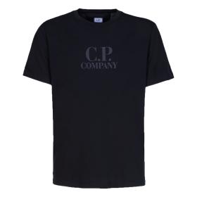 CP COMPANY CLASSIC LOGO T-SHIRT IN BLACK