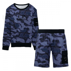 CP COMPANY JUNIOR CAMO SWEAT AND SHORT SET IN BLUE