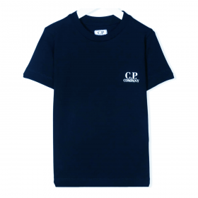 CP COMPANY JUNIOR T-SHIRT IN WITH PATTERN ON THE BACK IN NAVY