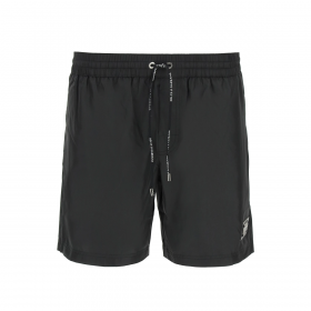 DOLCE & GABBANA BRANDED PLATE MID LENGTH SHORTS IN BLACK