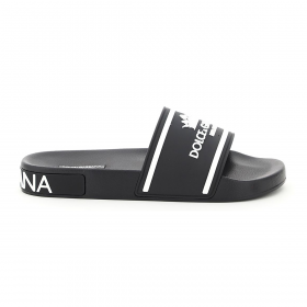 DOLCE & GABBANA MILANO AND CROWN SLIDES IN BLACK