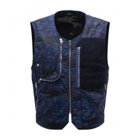 STONE ISLAND SHADOW PROJECT UTILITY VEST IN NAVY BLUE