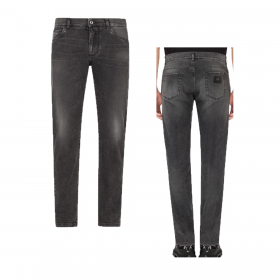 DOLCE & GABBANA WASHED SLIM FIT JEANS IN GREY