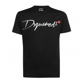 DSQUARED2 SMALL FLAG LOGO T-SHIRT IN BLACK