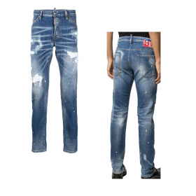 DSQUARED2 ICON DISTRESSED COOL GUY JEANS IN LIGHT BLUE