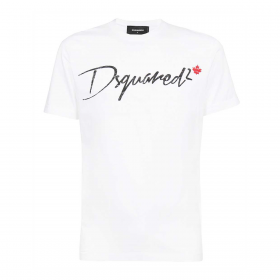 DSQUARED2 SMALL FLAG T-SHIRT IN WHITE