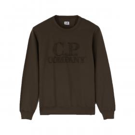 CP COMPANY LIGHT FLEECE GARMENT DYED SWEATSHIRT IN IVY GREEN