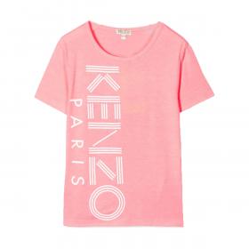 KENZO KIDS LOGO PRINT T-SHIRT IN PINK
